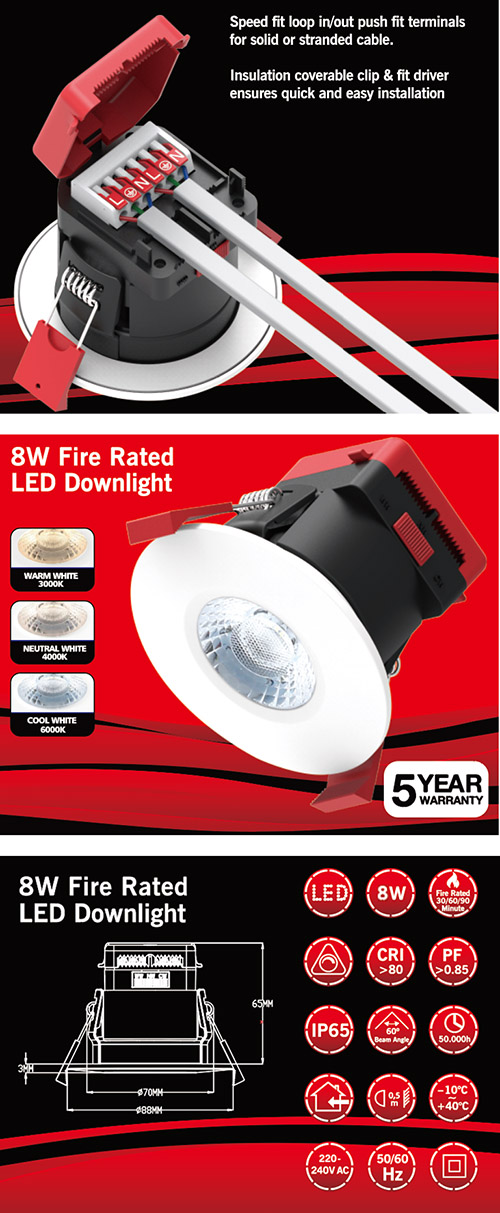 DL100 8W fire rated downlight